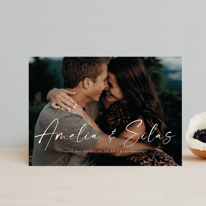 """""""Because of you"""" - Save The Date Postcards in Marshmallow by Lea Delaveris."""
