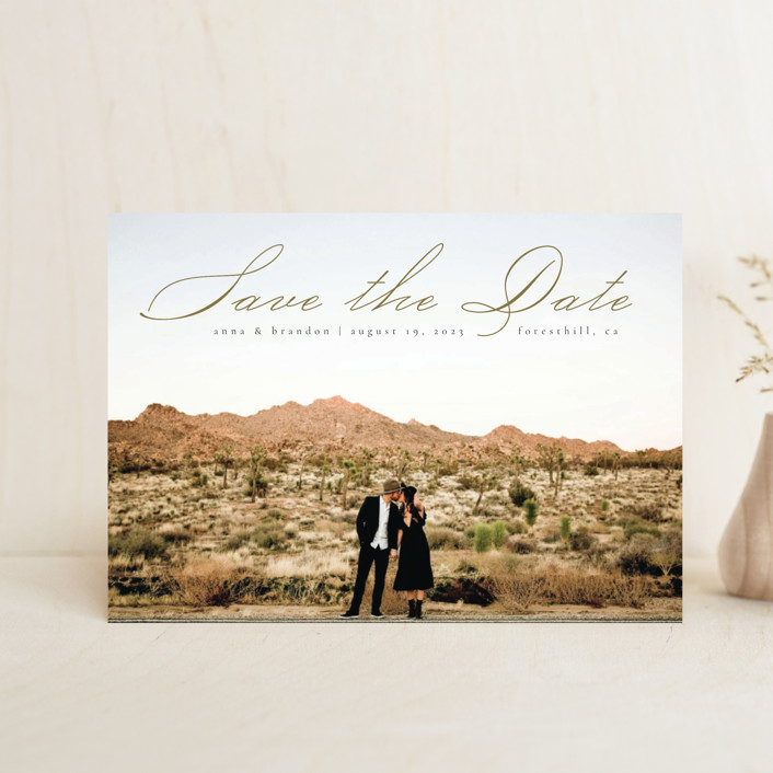 """""""Heavenly"""" - Save The Date Postcards in Moss by Kann Orasie."""