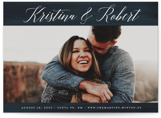 This is a landscape classic and formal, blue Save the Dates by Kelly Nasuta called Plum Paint with Standard printing on Signature in Postcard Flat Card format. Textured paint wash background
