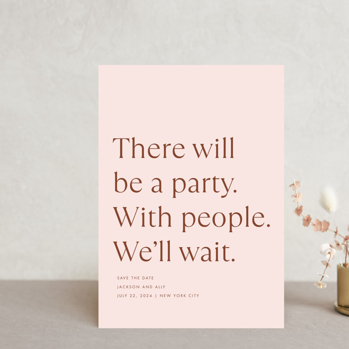"""""""There Will Be a Party"""" - Funny Save The Date Postcards in Terracotta by Amy Payne."""