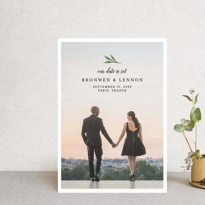 """""""Botanical Beauty"""" - Save The Date Postcards in Sage by Paula Pecevich."""