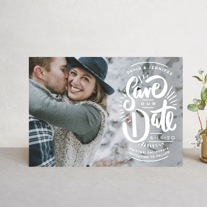 """Marker Letters"" - Hand Drawn Save The Date Postcards in Pearl by Shiny Penny Studio."