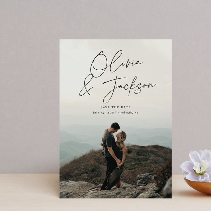 """""""Signed"""" - Save The Date Postcards in Onyx by Ashley Rosenbaum."""
