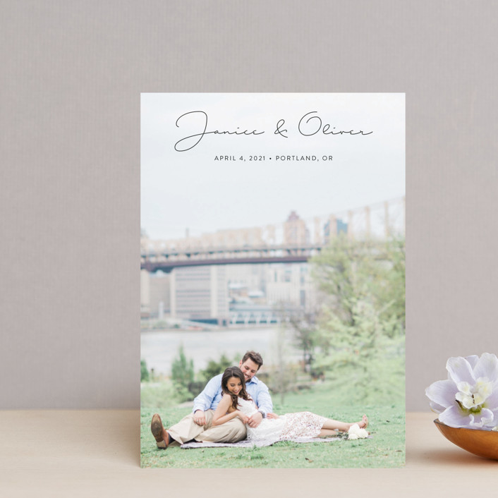 """Breezy"" - Minimalist, Simple Save The Date Postcards in Tuxedo by Ann Gardner."