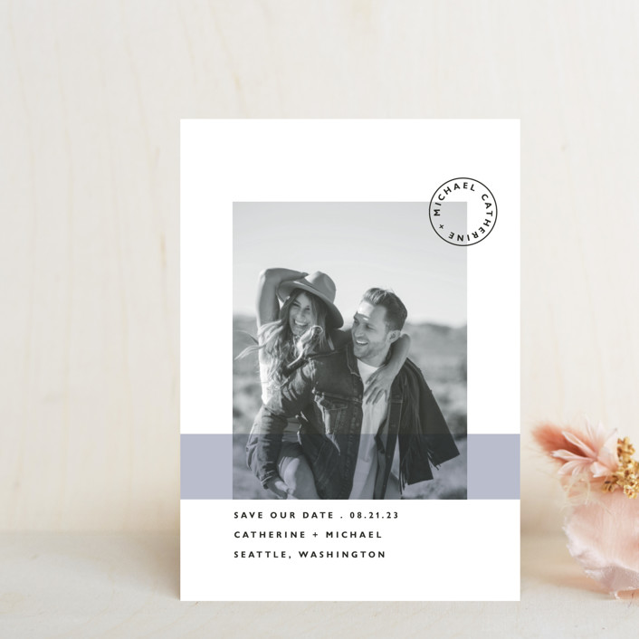 """""""Sealed with a Kiss"""" - Save The Date Postcards in Blush by Hudson Meet Rose."""