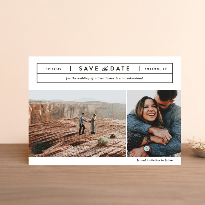 """""""Cinematic"""" - Save The Date Postcards in Dove by Jessica Ogden."""