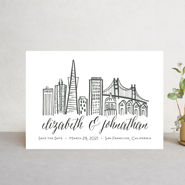 """Skyline - San Francisco"" - Save The Date Postcards in Gold Coast by Abby Munn."