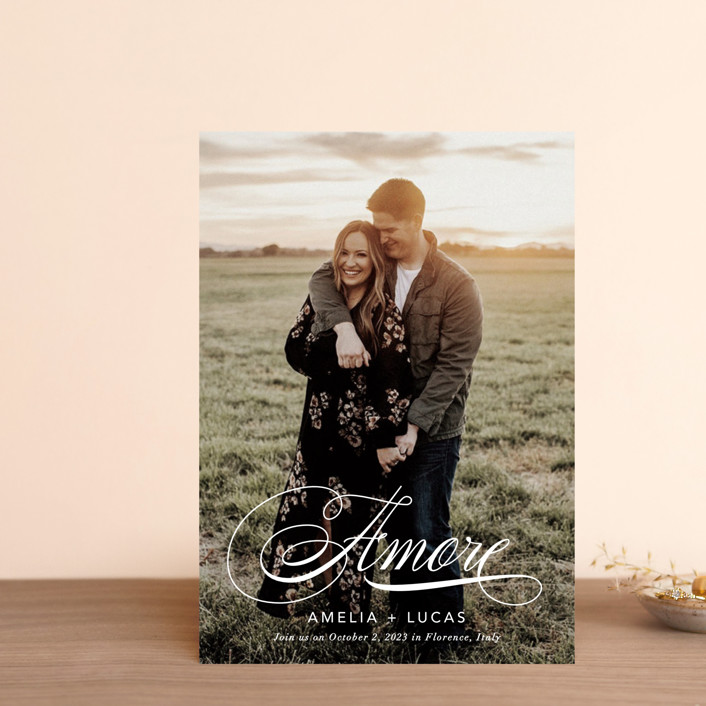 """""""giorno dell'amore"""" - Save The Date Postcards in Opal by Fig and Cotton."""