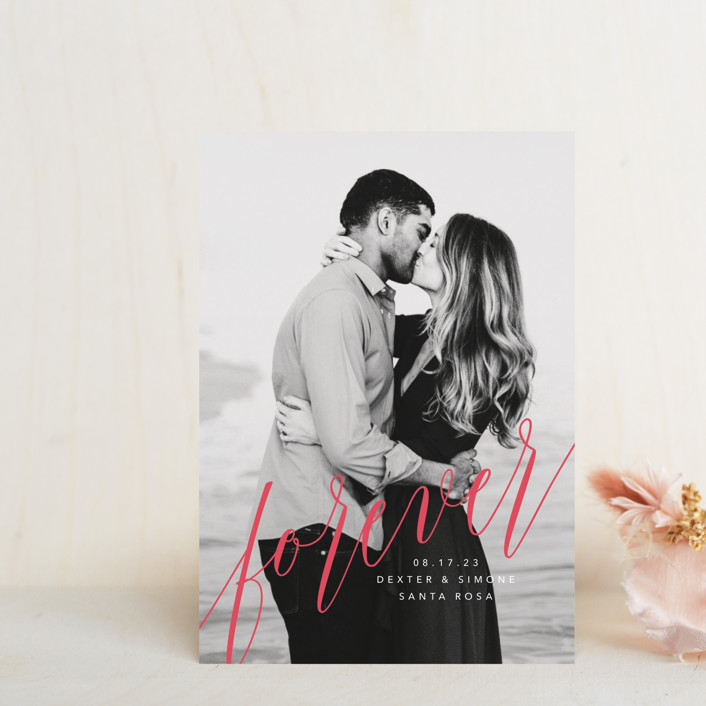 """""""forever with you"""" - Modern Save The Date Postcards in Linen by Guess What Design Studio."""