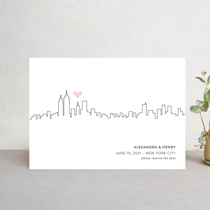 """Love in the City - New York City"" - Save The Date Postcards in Petal by Erin Deegan."