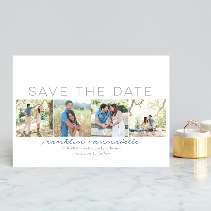 """Simple Frames"" - Modern Save The Date Postcards in Dove by Sara Showalter."