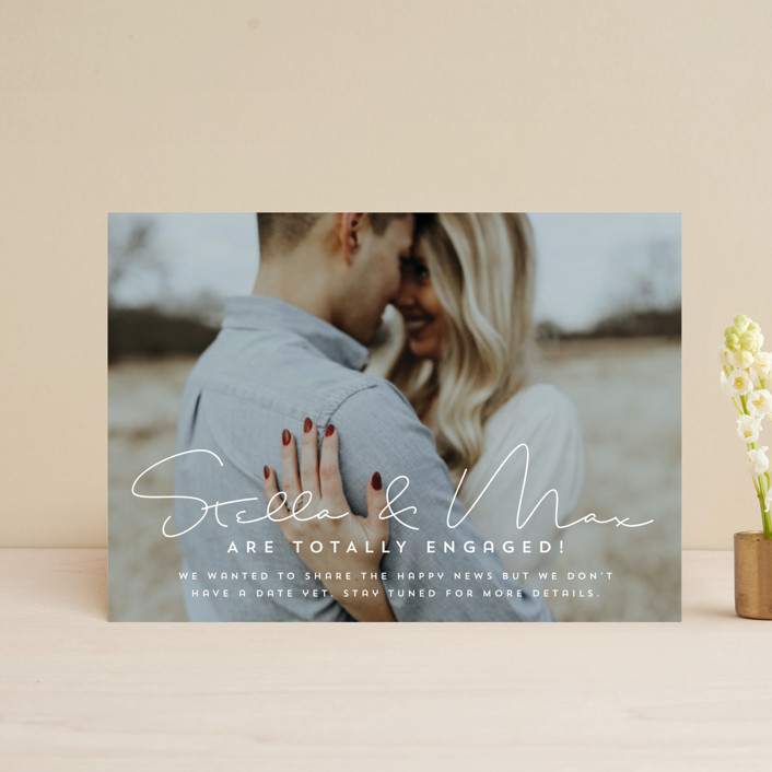 """""""totally in love"""" - Save The Date Postcards in Cotton by Guess What Design Studio."""