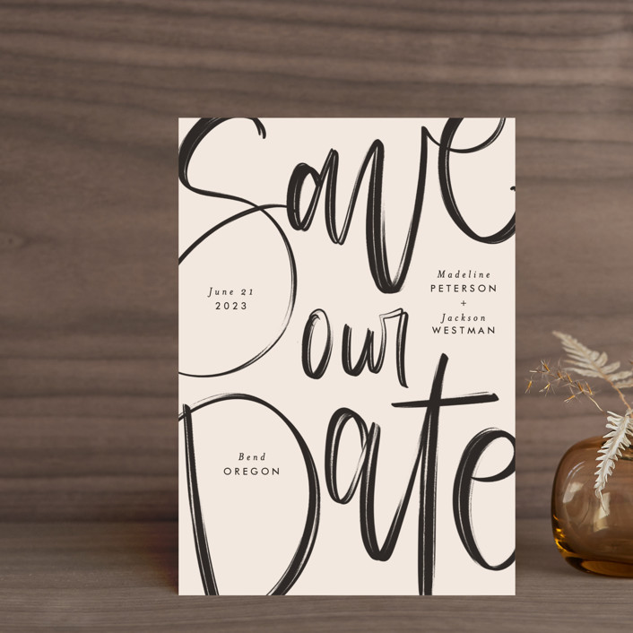 """""""Off the Page"""" - Save The Date Postcards in Petal by Amy Payne."""