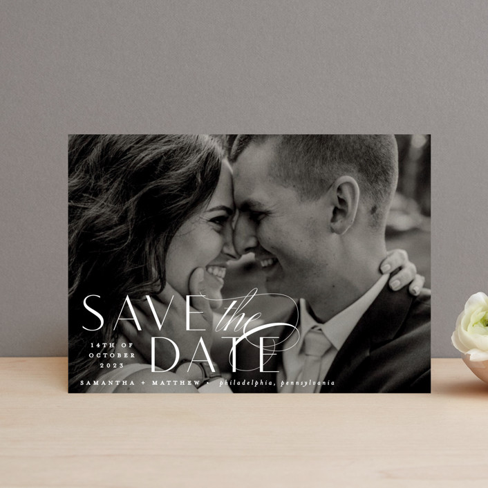 """Swoop"" - Save The Date Postcards in Pearl by Everett Paper Goods."