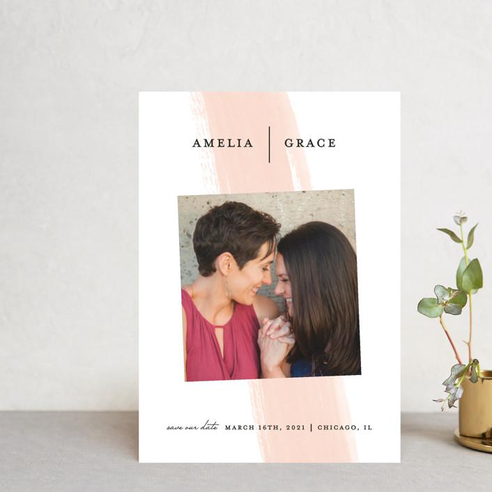 """Single Swath"" - Save The Date Postcards in Blush by Angela Marzuki."