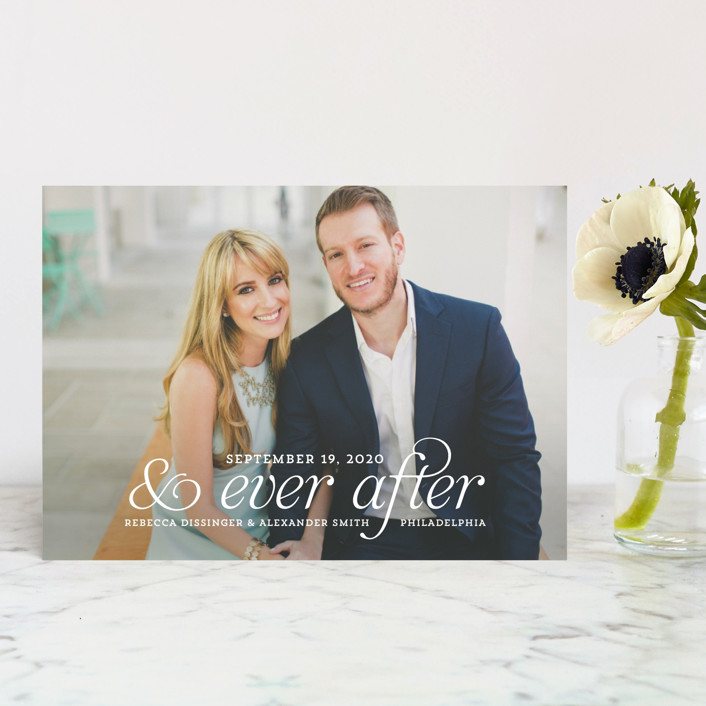 """""""and Ever After"""" - Bohemian Save The Date Postcards in Cloud by Kim Dietrich Elam."""