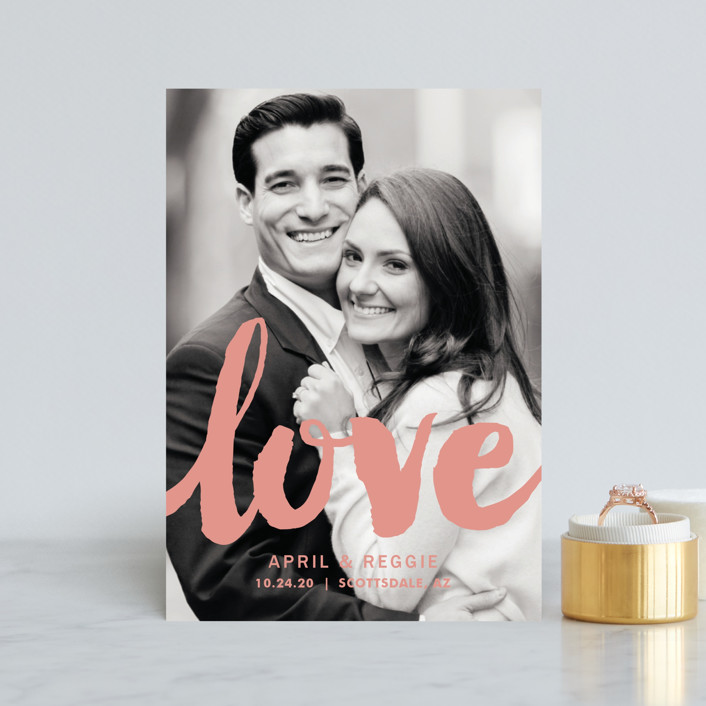 """Ready for Love"" - Modern Save The Date Postcards in Carmine by Faiths Designs."