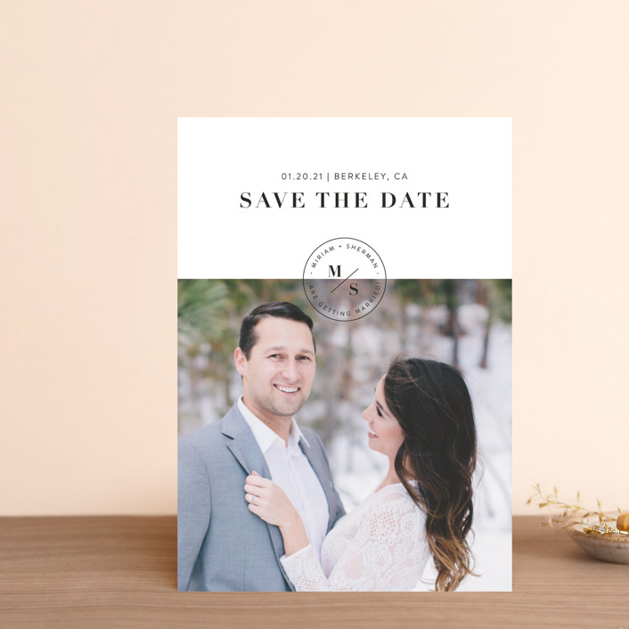 """""""Simple Stamp"""" - Save The Date Postcards in Ivory by Becca Thongkham."""