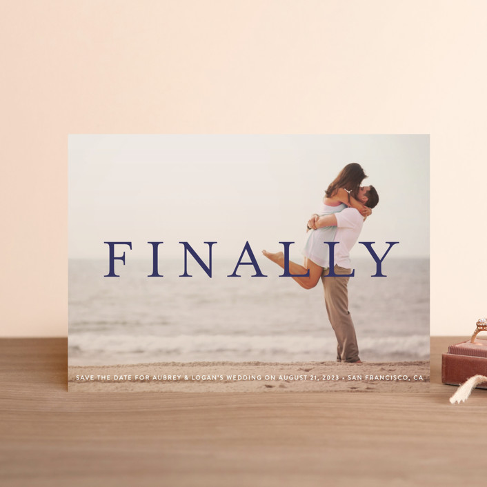 """Its Finally Time"" - Save The Date Postcards in Vanilla by Liz Conley."