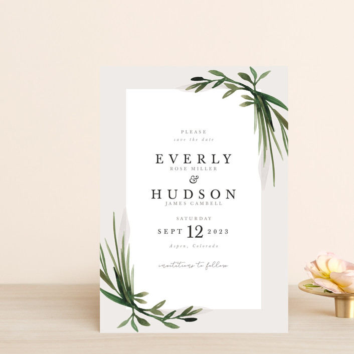 """""""Botanical Frame"""" - Save The Date Postcards in Fern by Kate Ahn."""