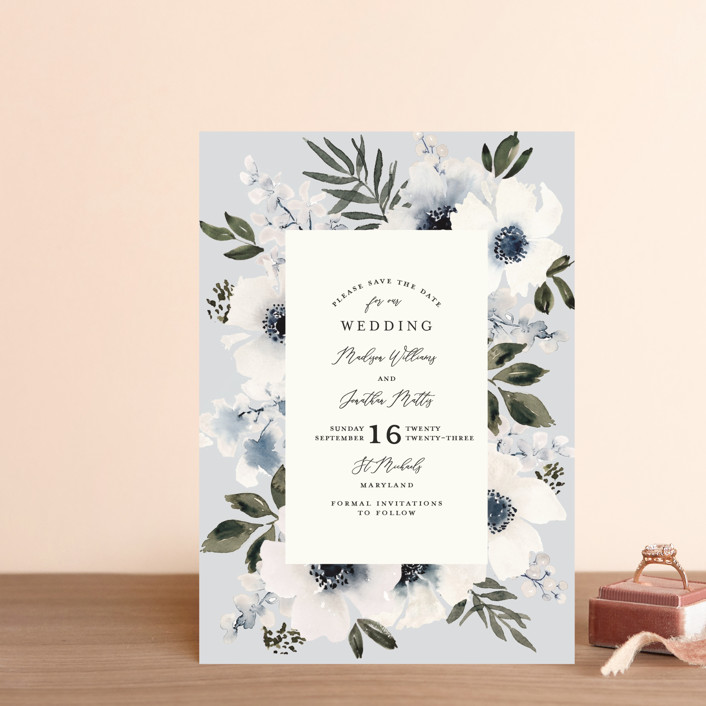 """""""Nantucket Romance"""" - Save The Date Postcards in Marine by Chris Griffith."""