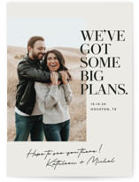 This is a white save the date postcard by Jessica Corliss called Big Plans with standard printing on signature in postcard.