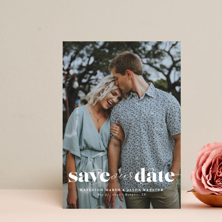 """Swoon"" - Minimalist, Simple Save The Date Postcards in Vanilla by Lea Delaveris."