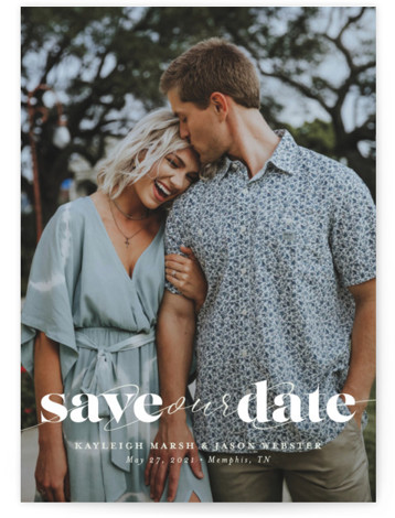 This is a bold and typographic, classic and formal, minimalist, simple, green Save the Dates by Lea Delaveris called Swoon with Standard printing on Signature in Postcard Flat Card format. Bold serif, sweep of script, single photo