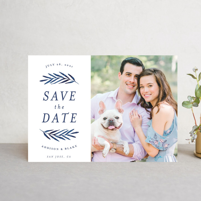 """Framed in Foliage"" - Save The Date Postcards in Fresh by Kelly Schmidt."