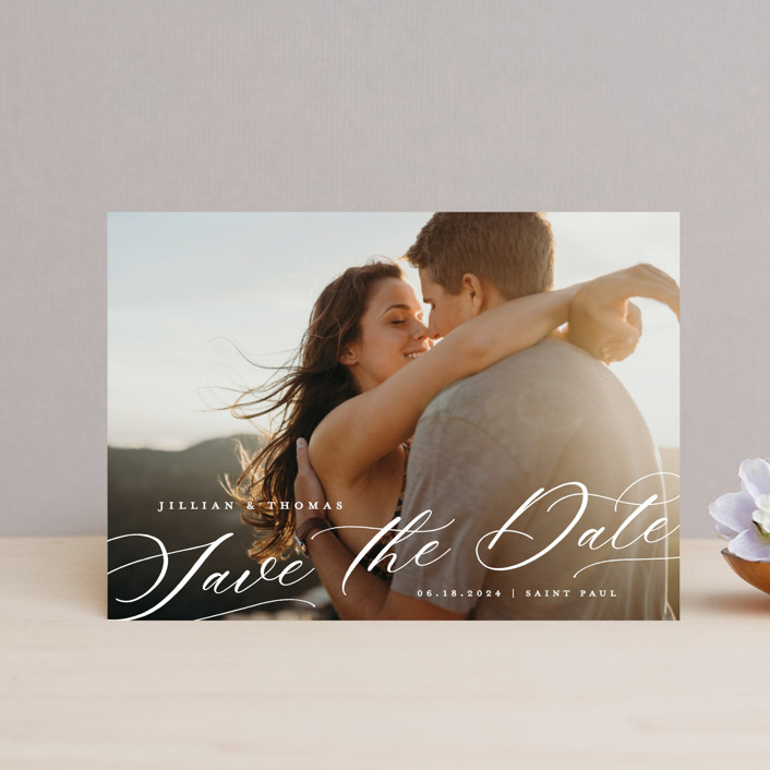 """""""Slant"""" - Save The Date Postcards in Snow by Michelle Taylor."""