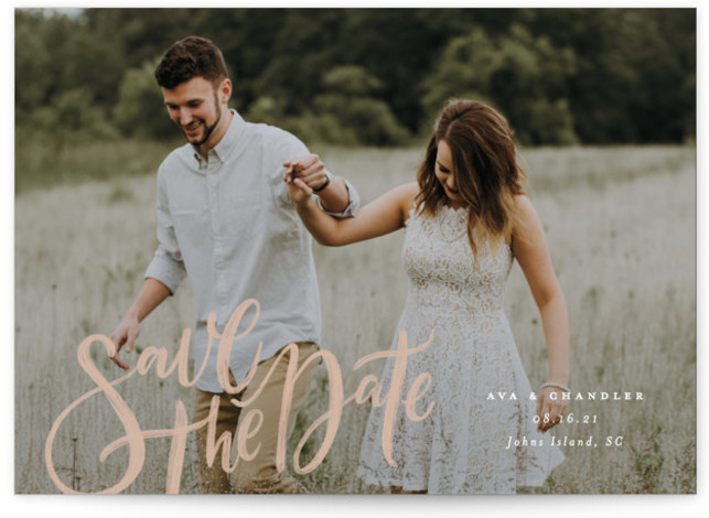 This is a bold typographic, classic and formal, pink Save the Dates by Wildfield Paper Co. called Summertime Love with Standard printing on Signature in Postcard Flat Card format. Fun and playful hand lettering with simple typography for a lovely ...