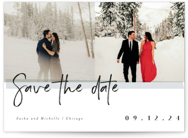 This is a landscape modern, grey Save the Dates by chocomocacino called pavlova with Standard printing on Signature in Postcard Flat Card format. Brushy framed photo card