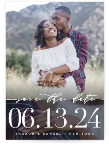 This is a portrait bold and typographic, black Save the Dates by heythird called Geo Lovely with Standard printing on Signature in Postcard Flat Card format. This is a two photo card and features a simple foil pressed text in ...