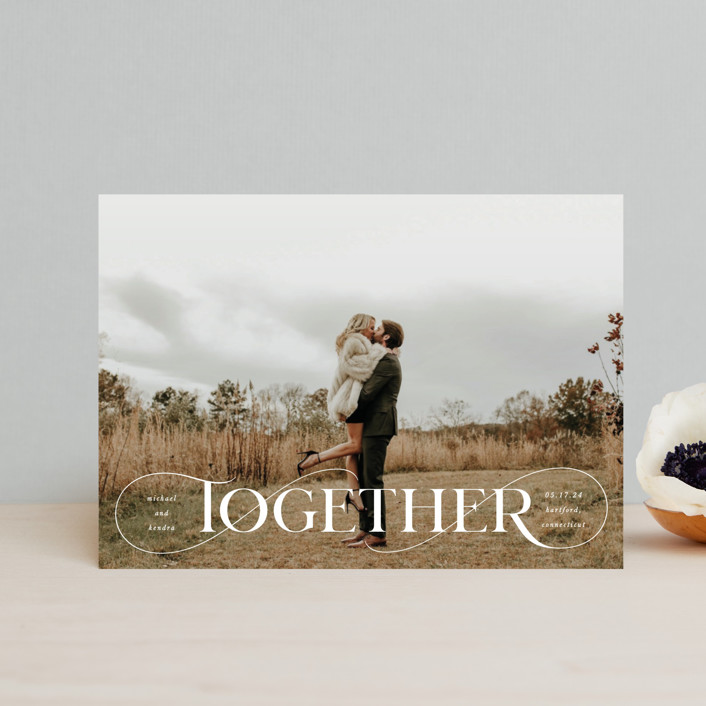 """""""Together Forever"""" - Save The Date Postcards in Cream by Kristel Torralba."""