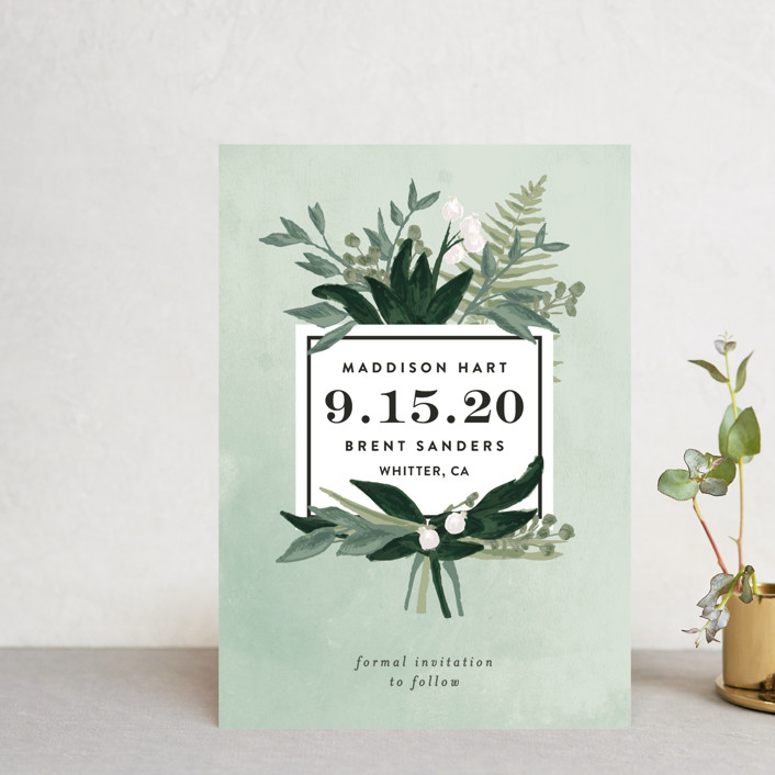 """Botanical Name Plate"" - Save The Date Postcards in Sage by Shiny Penny Studio."