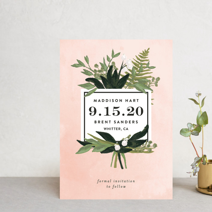 """""""Botanical Name Plate"""" - Save The Date Postcards in Blush by Shiny Penny Studio."""