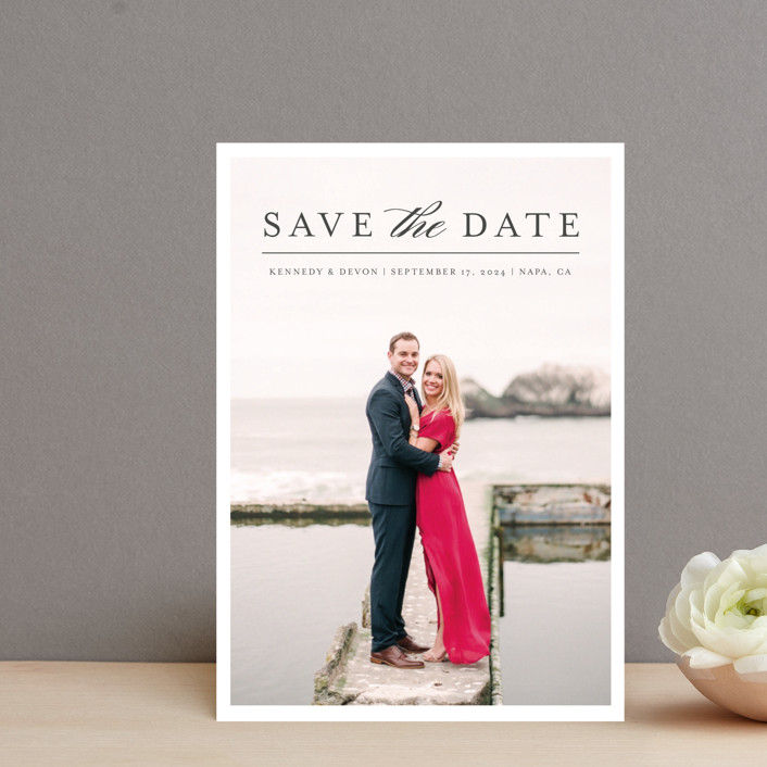 """""""Classic Save the Date"""" - Save The Date Postcards in Platinum by Pine and Lark."""