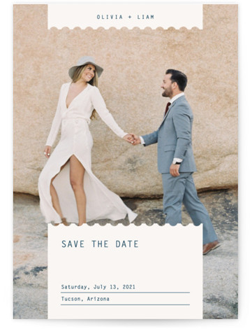 This is a minimalist, simple, simple and minimalist, blue Save the Dates by Joyce Pinheiro called Label with Standard printing on Signature in Postcard Flat Card format. Save the date card with full bleed photo.