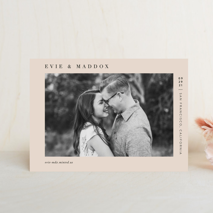 """Darling"" - Minimalist, Simple Save The Date Postcards in Blush by Pine and Lark."