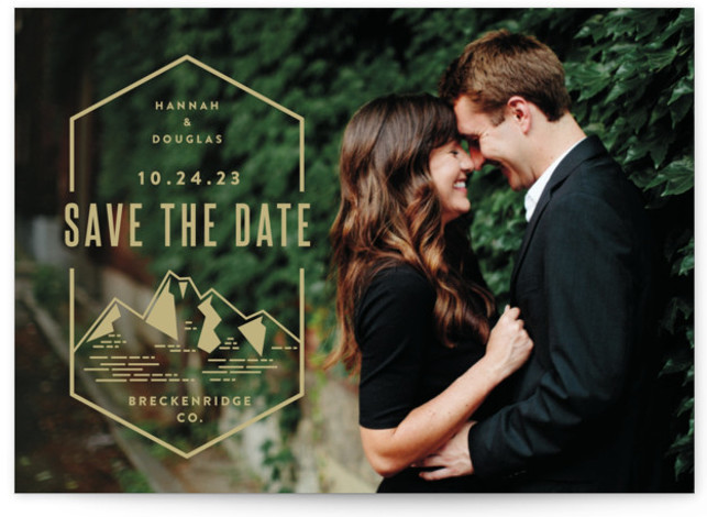 This is a landscape illustrative, gold Save the Dates by Jessica Ogden called Modern Rusticism with Standard printing on Signature in Postcard Flat Card format. A modern save the date for an outdoor or mountain destination wedding.