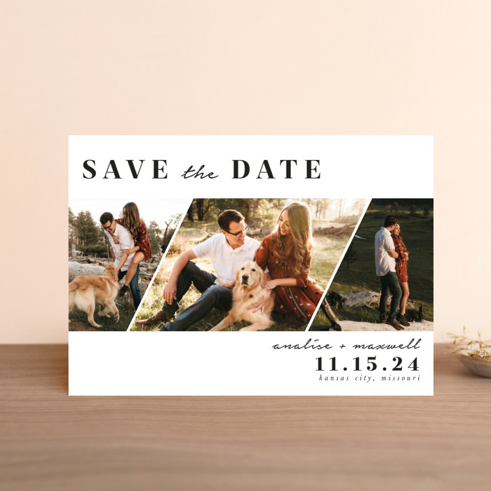 """Diamond Trio"" - Modern Save The Date Postcards in Pearl by Stephanie Given."