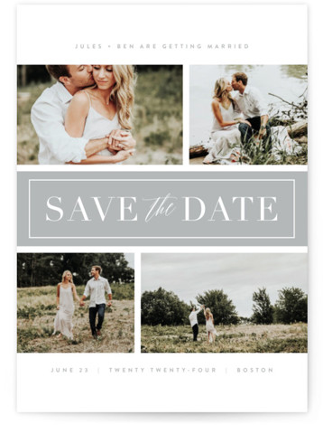 This is a portrait classic and formal, grey Save the Dates by Kristie Kern called Banner Day with Standard printing on Signature in Postcard Flat Card format. A modern and clean multi photo design