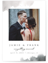 This is a grey save the date postcard by Pixel and Hank called Chic Love with standard printing on signature in postcard.