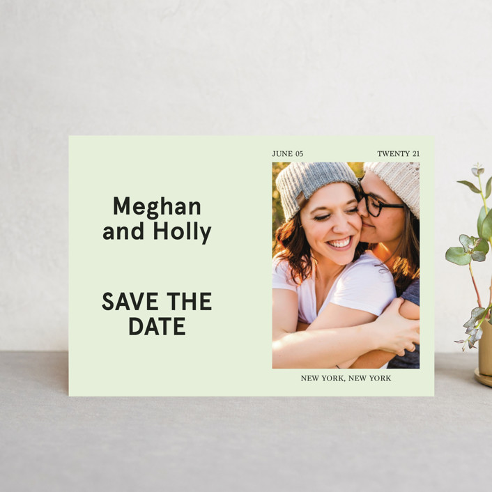 """Booklet"" - Save The Date Postcards in Fern by Jack Knoebber."