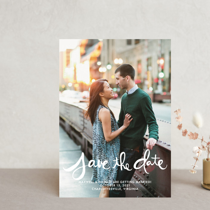 """""""Hand-Lettered"""" - Bohemian Save The Date Postcards in Lily by Dean Street."""