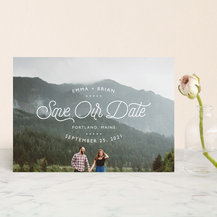 """Something New"" - Modern Save The Date Postcards in Cloud by 24th and Dune."