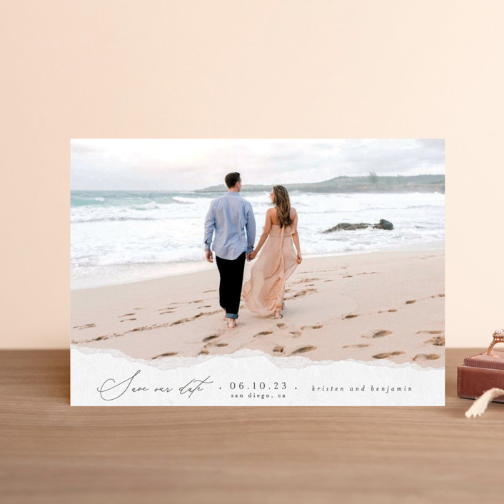 """Torn Texture"" - Save The Date Postcards in Parchment by Everett Paper Goods."
