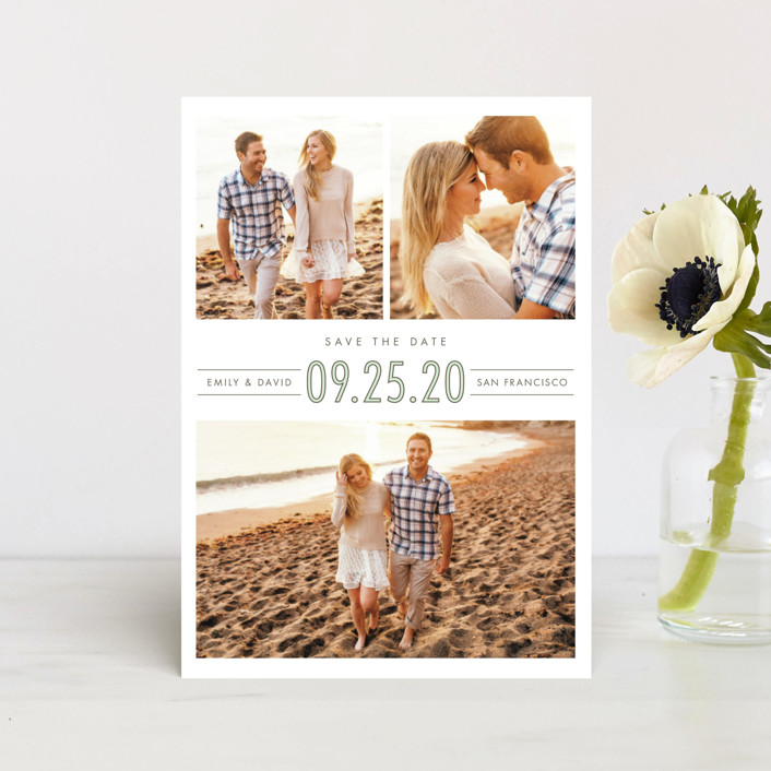 """""""Uptown Trio"""" - Modern Save The Date Postcards in Mint by Shirley Lin Schneider."""