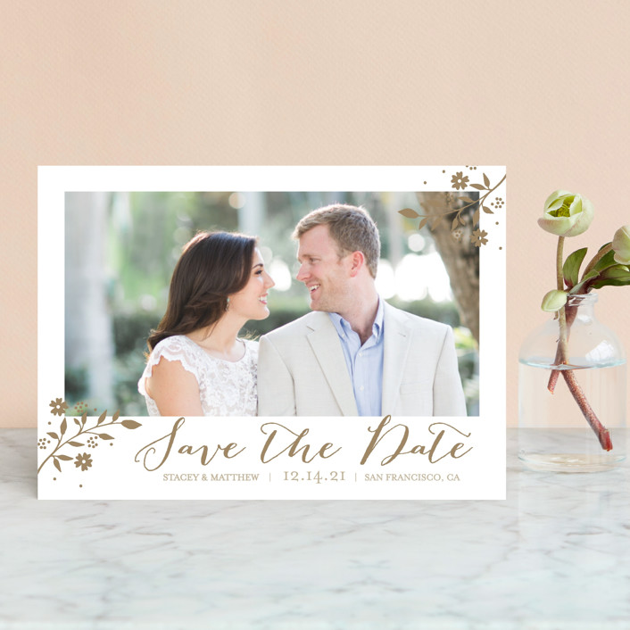 """""""Branch"""" - Save The Date Postcards in Golden Fields by Coco and Ellie Design."""