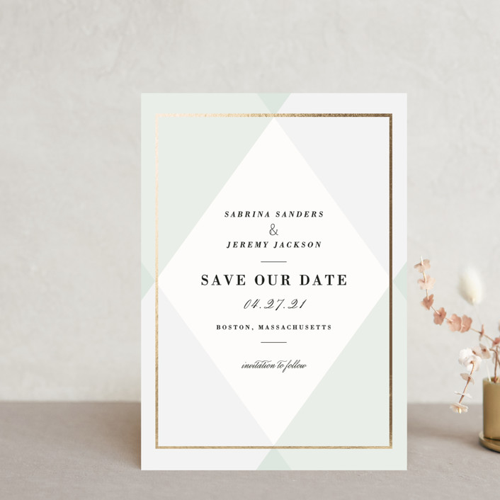 """""""Creme Brulee"""" - Preppy Save The Date Postcards in Mint by chocomocacino."""